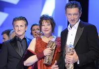 Sean Penn, Yolande Moreau and Vincent Cassel at the 34th Cesars French Film Awards.