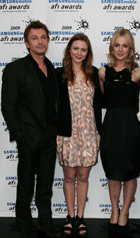 Peter O'Brien, Maeve Dermody and Jessica Marais at the 2009 Samsung Mobile AFI Awards in Australia.