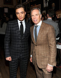 Ed Westwick and designer Tommy Hilfiger at the Tommy Hilfiger Fall 2011 Men's Collection in New York.