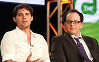 Kristoffer Polaha and Austin Basis at the CW Network portion of 2009 Summer Television Critics Association Press Tour.