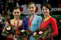 Sasha Cohen, Shizuka Arakawa and Irina Slutskaya at the women's Free Skating program of figure skating during the Turin 2006 Winter Olympic Games.