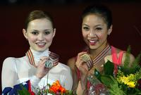 Sasha Cohen and Michelle Kwan at the 2004 World Figure Skating championships.