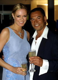 Charlotte Dawson and Temuera Morrison at the Fire and Ice ball.