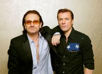 Bono and Larry Mullen, Jr. at the 20th anniversary of Live Aid.