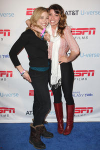 Julie Mond and Angela Trimbur at the ESPN AT&T U-verse Lounge in Utah.