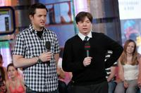 Mike Myers at the MTV Times Square Studios, appears onstage during MTV's Total Request Live.