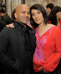 Ajay Naidu and Hiam Abbass at the TFI Awards Ceremony during the 2011 Tribeca Film Festival in New York.