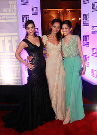 Yasmine Al Masri, writer Rula Jebreal and Freida Pinto at the premiere of