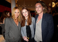 Creative Director of Gucci Frida Giannini, Bonnie Wright and Jamie Campbell Bower at the Gucci Icon Temporary store opening in London.
