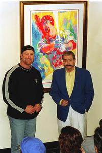 Mark McGwire and Leroy Neiman at the Timothy Yarger gallery.