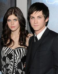Alexandra Daddario and Logan Lerman at the premiere of
