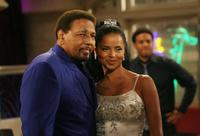Aaron Neville and Victoria Rowell on the sets of
