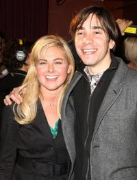 Laura Bell Bundy and Justin Long at the after party for opening night of the 8th Annual 24 Hour Plays on Broadway.