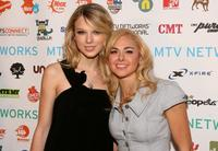 Taylor Swift and Laura Bell Bundy at the MTV Networks Upfront.