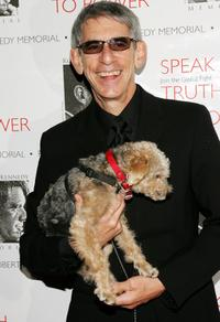 Richard Belzer and the dog Bebe at the Speak Truth To Power Memorial Benefit Gala.