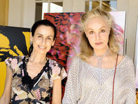 Photographer Anyes Galleani and Julie Newmar at the Day 1 of 2008 DPA Garden party Gift Suite in California.
