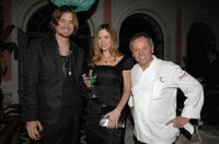 Christopher Backus, Mira Sorvino and chef Wolfgang Puck at the Simply Spectacular: Tiffany & Co. Celebrates 2008 Blue Book Collection in California.