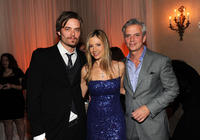 Christopher Backus, Mira Sorvino and managing editor of People magazine Larry Hackett at the People/TIME White House Correspondents' Dinner Cocktail party in Washington.