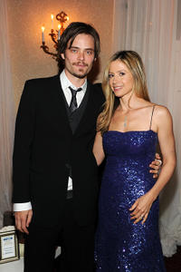 Christopher Backus and Mira Sorvino at the People/TIME White House Correspondents' Dinner Cocktail party in Washington.