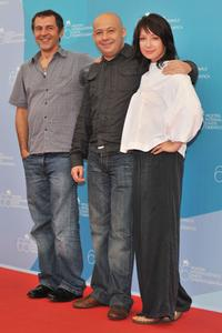 Merab Ninidze, Director Aleksei German Jr. and Chulpan Khamatova at the photocall of