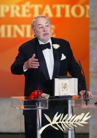 Philippe Noiret at the closing ceremony of the 56th Cannes film festival.