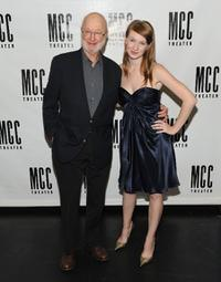 Jules Feiffer and Halley Feiffer at the opening night party of