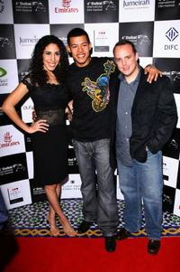 Yasmine Hanani, Eric Mehalacopoulos and Elliot Ruiz at the premiere of