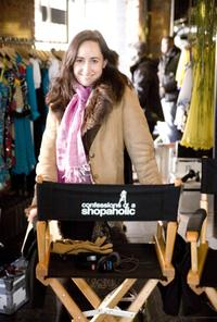 Sophie Kinsella on the set of