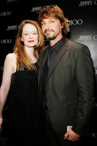 Miranda Otto and Peter O'Brien at the launch of the new Jimmy Choo boutique.
