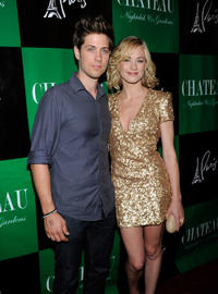 Timothy Loden and Yvonne Strahovski at the Chateau Nightclub & Gardens to celebrate Strahovski's in Las Vegas.
