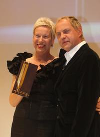Director Doris Doerrie and Uwe Ochsenknecht at the Golden Feder Awards.
