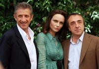 Ezio Greggio, Francesca Neri and Silvio Orlando at the photocall to promote
