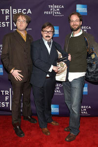 Sean Nelson, John Hodgman and Steven Schardt at the New York premiere of