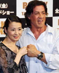 Rei Dan and Sylvester Stallone at the promotion of
