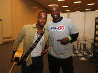 Leon Thomas III and Reggie Wayne of the Indianapolis Colts at the Kids Day Super Bowl in Indiana.