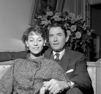 Gregory Peck and his wife Veronique Passani pose for the photographer in Paris.