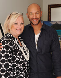 Stephen Bishop and Guest at the 2012 DPA Golden Globe Awards Gift Suite in California.