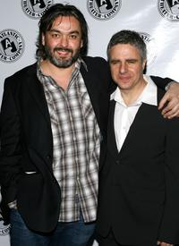 Jez Butterworth and Neil Pepe at the party for the opening night of