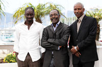 Diouc Koma, director Mahamat-Saleh Haroun and Youssouf Djaoro at the photocall of
