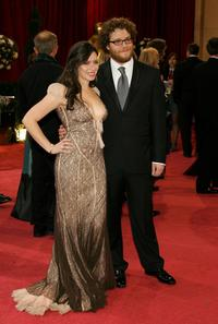 Lauren Miller and Seth Rogen at the 80th Annual Academy Awards.