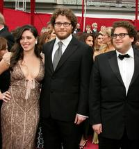 Lauren Miller, Seth Rogen and Jonah Hill at the 80th Annual Academy Awards.