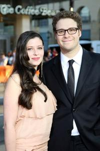 Lauren Miller and Seth Rogen at the premiere of