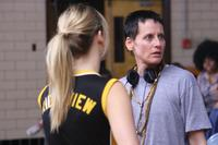 Director Lori Petty on the set of