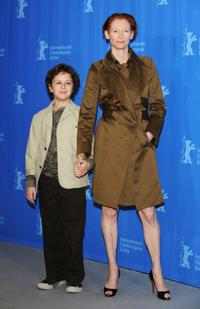 Aidan Gould and Tilda Swinton at the 58th Berlinale Film Festival.