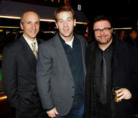 Director Seth Barrish, Mike Birbiglia and Nathan Lane at the opening night of
