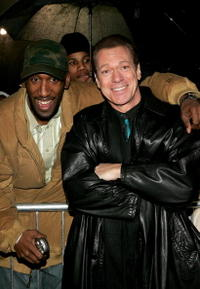 Joe Piscopo and fan Odell Brice of Newark at the premiere of