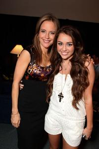 Kelly Preston and Miley Cyrus at the opening Ceremony of Disney's Inaugural D23 Convention.