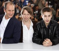 Hippolyte Girardot, Mathieu Amalric and Emile Berling at the photocall of