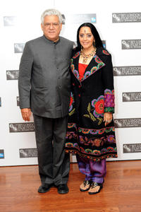 Om Puri and Ila Arun at the photocall of