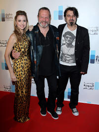 Amanda Palmer, director Terry Gilliam and Scandar Copti at the Doha Film Institute Launch Event during the 63rd Cannes Film Festival.